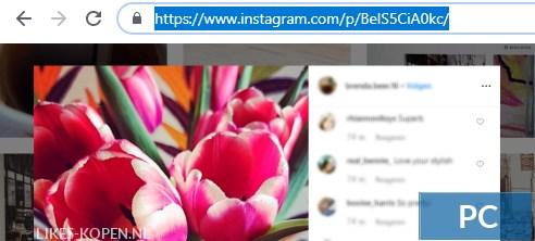 hoe komt je aan de link van je instagram foto op een pc