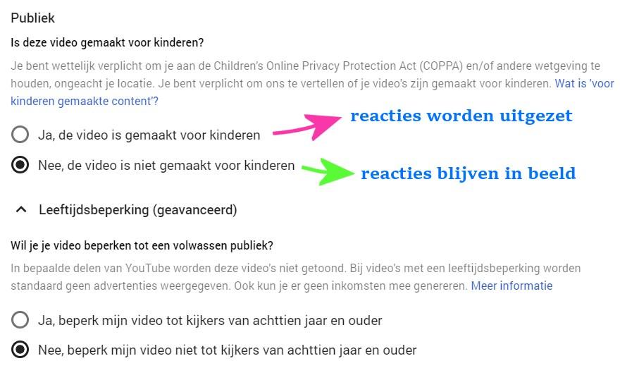 geschikt voor kinderen instellen youtube video