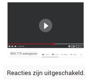 reacties uitgeschakeld youtube video
